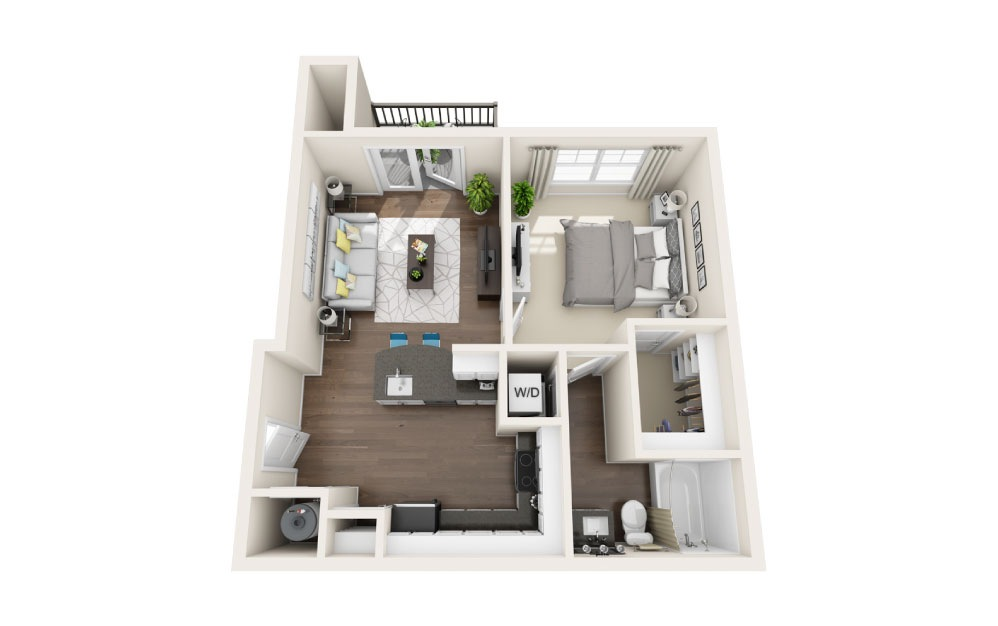 A1 - 1 bedroom floorplan layout with 1 bath and 632 square feet.