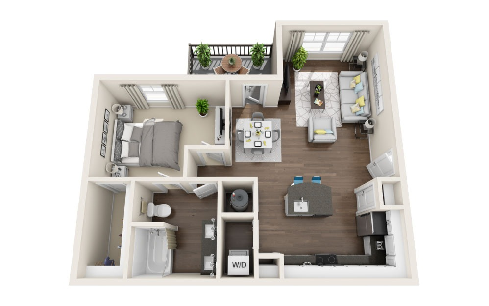 A2 - 1 bedroom floorplan layout with 1 bath and 798 square feet.