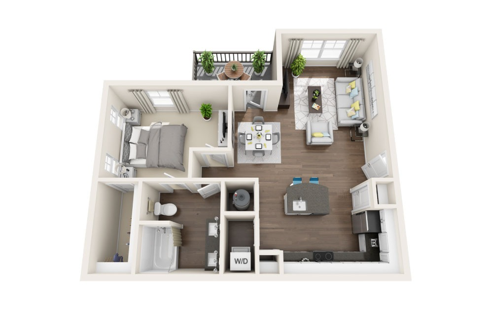 A2-E - 1 bedroom floorplan layout with 1 bath and 798 square feet.