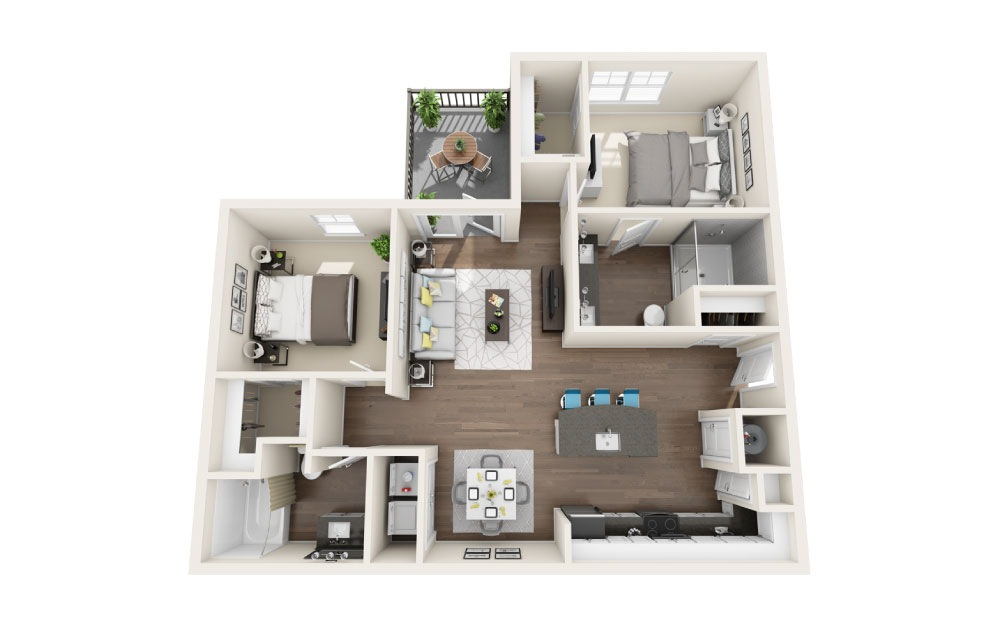 B1 - 2 bedroom floorplan layout with 2 baths and 1083 square feet.