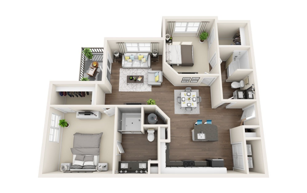 B5 - 2 bedroom floorplan layout with 2 baths and 1201 square feet.