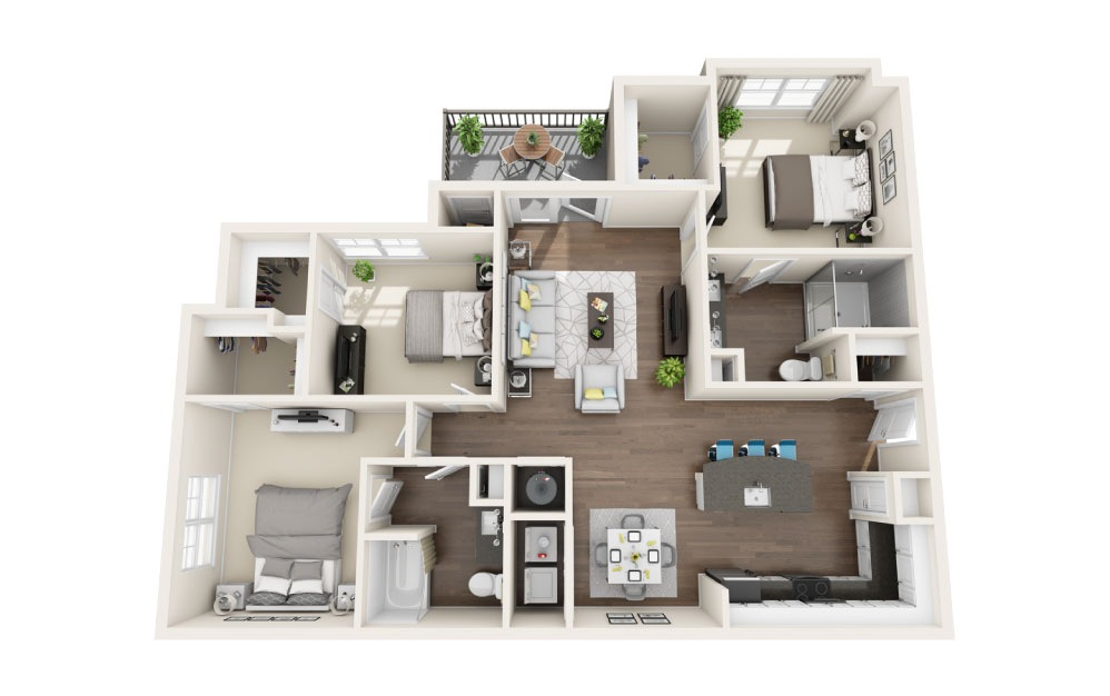 C1 - 3 bedroom floorplan layout with 2 baths and 1371 square feet.